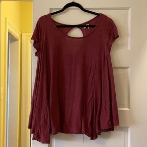 Free People Red/Maroon Shirt